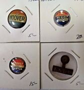 Hoover And Curtis Re-elect Presidential Campaign Political Pinback Button Lot