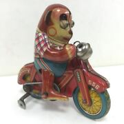 Vintage Rare Tin Toys Monkey Cycle Made In Japan 1950s Free Shipping
