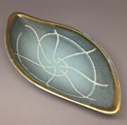 Beautiful Germany West German Art Pottery Footed Dish Blue Gold Mcm
