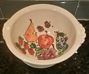 """Monicats pottery of Canada 10"""" COLANDER + PLATE, Grapes, fruits"""