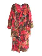 Womenand039s Plus Size Printed Two Piece Duster Jacket Dress Sets Sizes 1x-2x-3x Nwt
