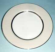 Royal Doulton Platinum Silk Accent Luncheon Plate 9 Champagne Band New