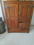 Antique Oak 3 Door Ice Box With Shelves And Drain Plug