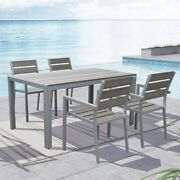 Corliving Metal Patio Dining Chair In Sun Bleached Gray Set Of 4