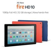 New Kindle Fire Hd 10 Tablet Full 1080p Display 32 Gb 2017 Release - Red
