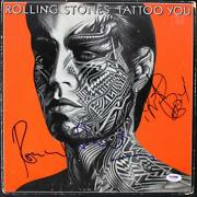 Ronnie Wood And Charlie Watts Signed Rolling Stone Tattoo Album Cover Psa U52955