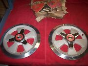 Vintage 1960and039s Nos Sparkomatic Scorpion 14 5 Spoke Alum Spinner Wheel Covers Pr