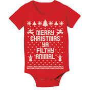 Baby Merry Christmas Ya Filthy Animal Xmas Cute Outfit Red Baby One Piece