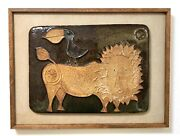 Hal Fromhold or Bertil Vallien ceramic lion and bird wall plaque marked, framed