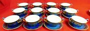 12 Wedgwood X8540 Powder Blue And Gold Serpentine Cream Soup And Saucer Sets