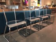 Gio Ponti Set Of 4 Aluminum D.235 Montecatini Dining Chairs By Molteni And C.
