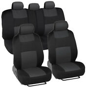 Car Seat Covers For Ford Fusion 2 Tone Charcoal And Black W/ Split Bench