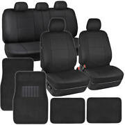 Black Pu Leather Seat Covers For Car Suv Auto W/ Front And Rear Carpet Floor Mats