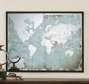 Mirrored Glass World Map | Silver Antique Style | Oversize Wall Art