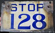 Antique Porcelain Car Streetcar Trolley Stop Sign 128 Old Pa Pittsburgh Philly