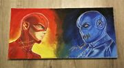 Grant Gustin + Teddy Sears 1 Of A Kind Signed Original 24x12 Oil Painting W/coa