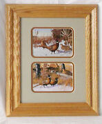 Hayden Lambson 2 Pheasant Prints Together Wildlife Lithograph Framed 18 X 15