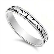 Tribal Marking Thin Oxidized Wedding Ring .925 Sterling Silver Band Sizes 5-9