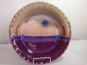 "WALT GLASS Art Pottery ~ 12"" Pie Plate McQueeny Texas ~ great glaze WOW!"