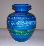 Mid Century Modern Flavia Bitossi Bulbous Wideneck Carved Pottery Vase Raymor