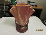 Vintage 1940's Roseville USA Pottery Blue Foxglove Flower Flared Fan Vase 47-8