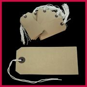Merit Quality Manilla Brown Parcel Strung Tags 134mm X 67mm Tie On Labels St6