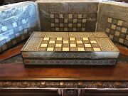 Hand Carved Mosaic Wood Mother Of Pearl Middle Eastern Backgammon Set 19