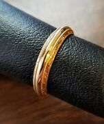 Solid 14k Yellow Gold 3-5mm Wide Men Women Wedding Rings Engraved W/beaded Edge