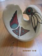 Vintage Native Style Pottery Hand Painted Bird Sculpture  Signed by Artist
