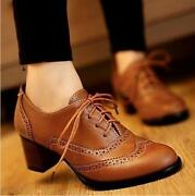 Top Womens Brogue Lace Up Low Block Heels Pointy Toe Oxfords Retro Boat Shoes