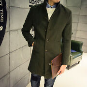 Fashion Menand039s Wool Blend Single Breasted Long Trench Coat Outwear Vintage Chic