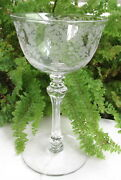 Set Of 4 Lovely 5 1/4 Tiffin Etched June Night Liquor/ Cocktail Glasses 2