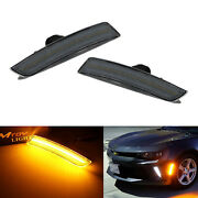 Smoked Lens Front Amber Led Side Marker Lights For Chevy Camaro Cadillac Ats Cts