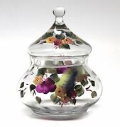 Hand Painted Floral Apothecary Jar with Lid Signed Fenton Style Clear Glass EUC