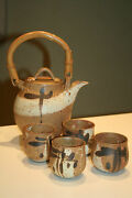 VTG Zaros Ohio Studio Art Pottery Teapot Tea Set with 4 cups Chawan EUC