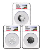 2017 Canada Phases Of Moon 3-coin Set 2 Oz Silver 30 Ngc Pf70 Uc Er Sku49453