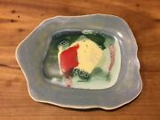Handmade~Hand Painted Pottery Plate Cheerful Unusual Design And Shape Signed GS