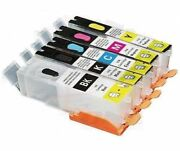 5 Refillable Ink Cartridges For Canon Pgi-250 Cli-251 Mg5420 Mg5520 Empty