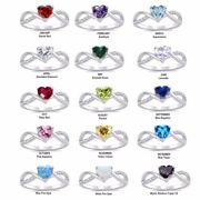 Infinity Overlap Heart Birthstone Cz Genuine Sterling Silver Ring Size 4 - 10