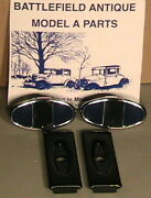 1928-1931 Model A Ford Ratrod Streetrod Bumper Clamp Ss Set/2 With Backplates