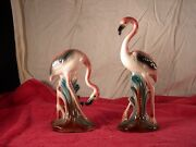 VINTAGE PAIR OF ART DECO FLAMINGO FIGURINES CERAMIC MINTY Maddux California ?