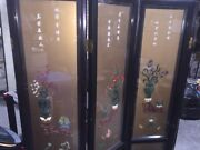 4 Panel Chinese Lacquered Embedded Double-sided Room Divider