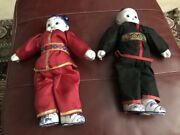 Chinese Boy And Girl Dollsw/blue White Porcelain Head, Hands And Feet