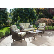 Outdoor Patio Lounging Set 4pc All Weather Cushioned Chair Loveseat Coffee Table