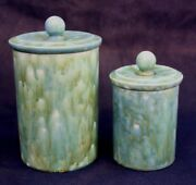 2 Studio Art Handmade Drip Glaze Pottery Canisters w Lids Signed Turquoise Green