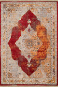 Red Curves Petals Rings Transitional Casual Area Rug Medallion 1950--10535