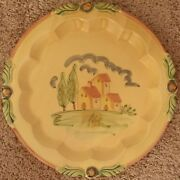 Hand Painted Ciao Italya 12 in Art Pottery Plate Made In Italy Orange Ships Free