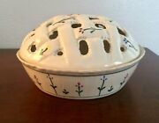 VTG Hartstone Pottery DEEP BAKING Pie DISH Plate Lattice Cover Set Flowers USA