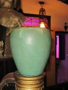 LARGE Matte Green Arts and Crafts EGYPTIAN REVIVE HANDTHROWN POTTERY VASE SIGNED