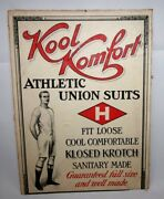 1920and039s Kool Komfort Athletic Union Suits Box Top Or Sign Measuring 9.5 X 13